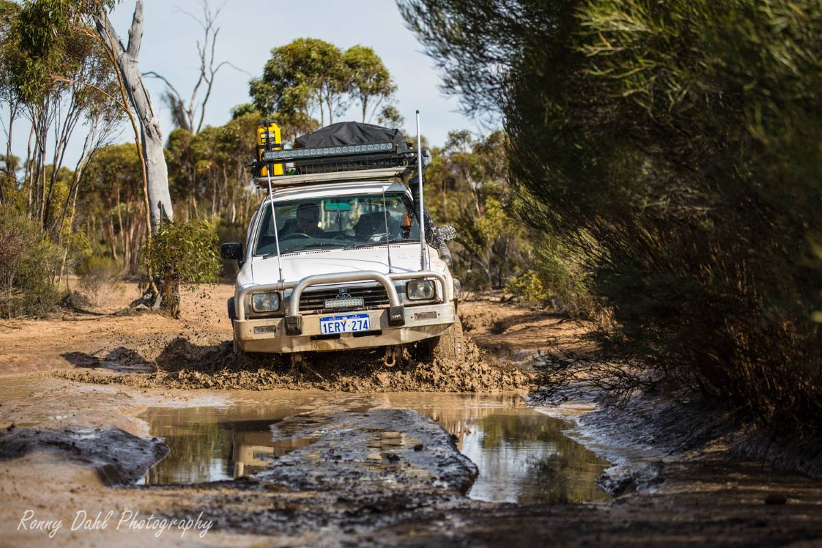 Toyota Hilux in the mud on the Holland Track, Western Australia.