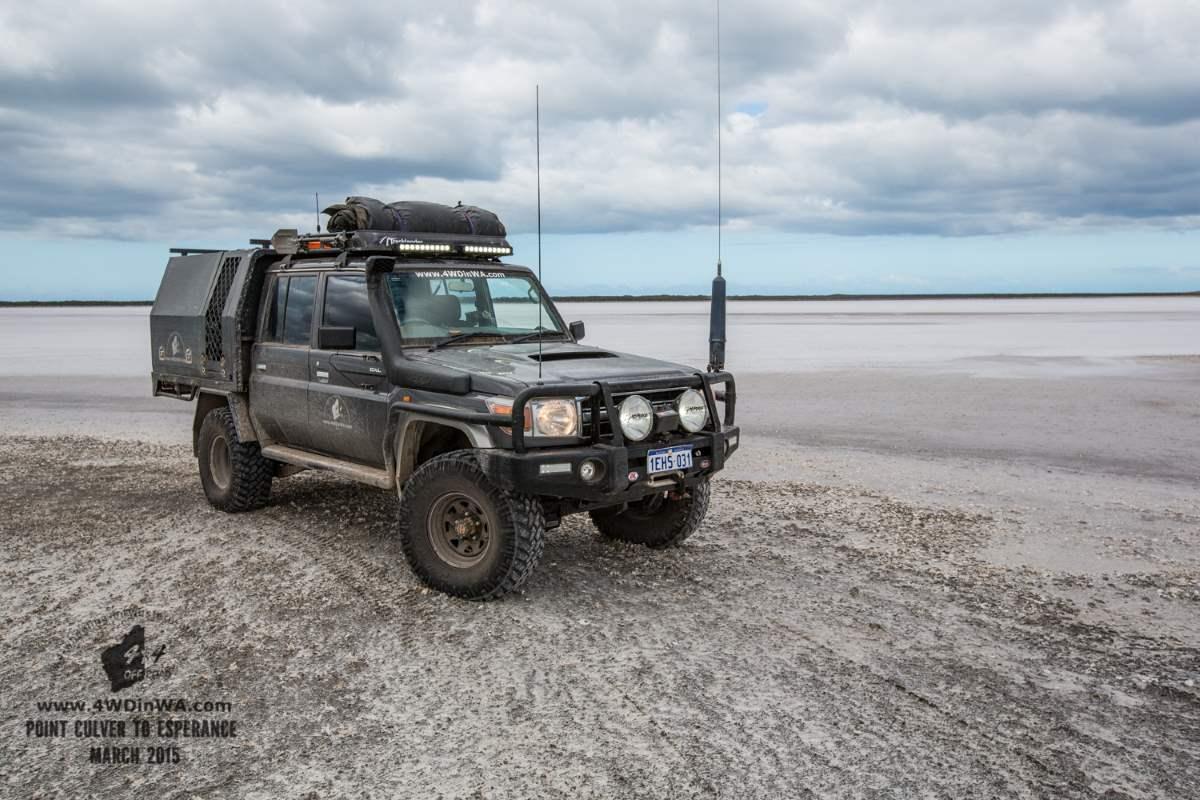 79 Series Landcruiser on the Salt pans, Western Australia.