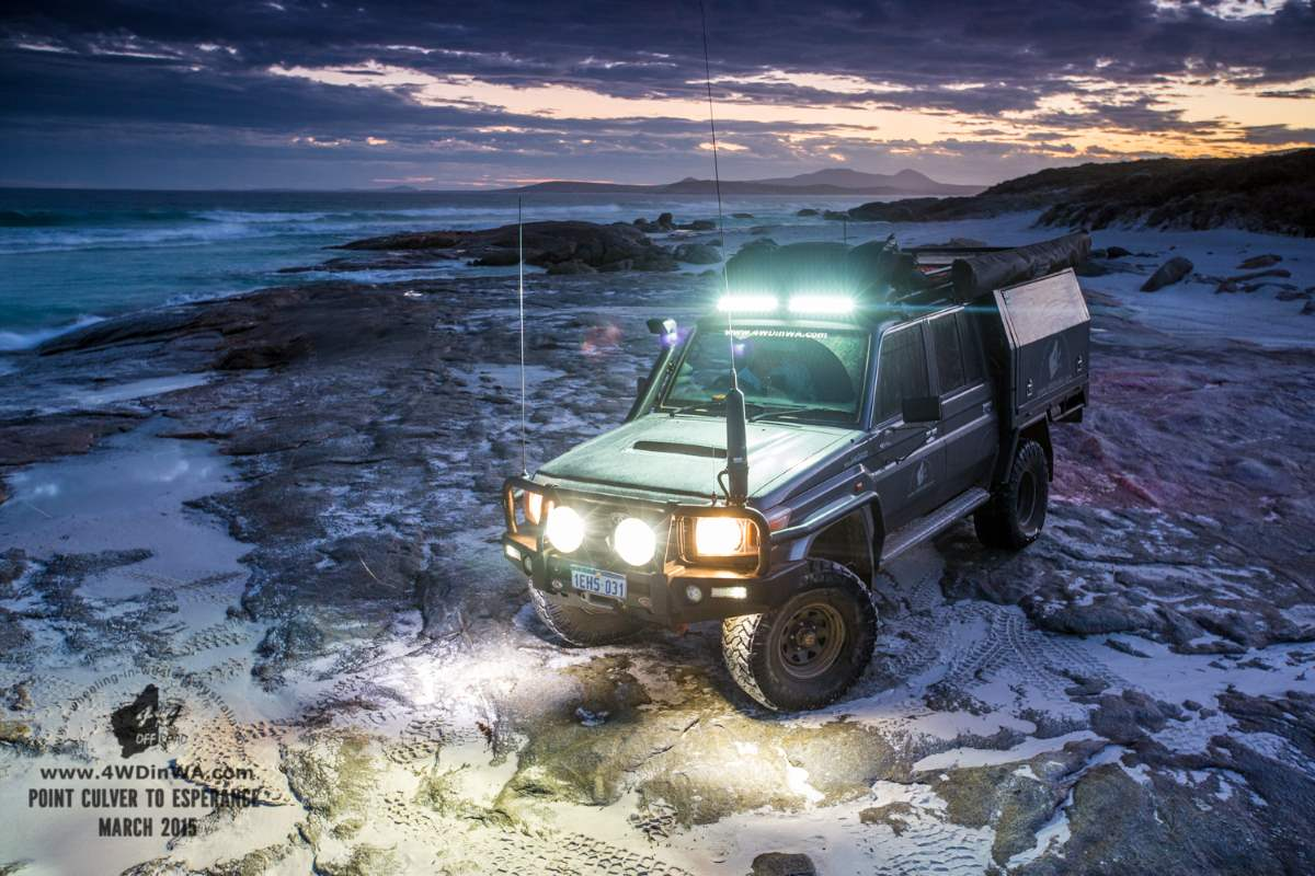 79 Series Landcruiser on the beach.