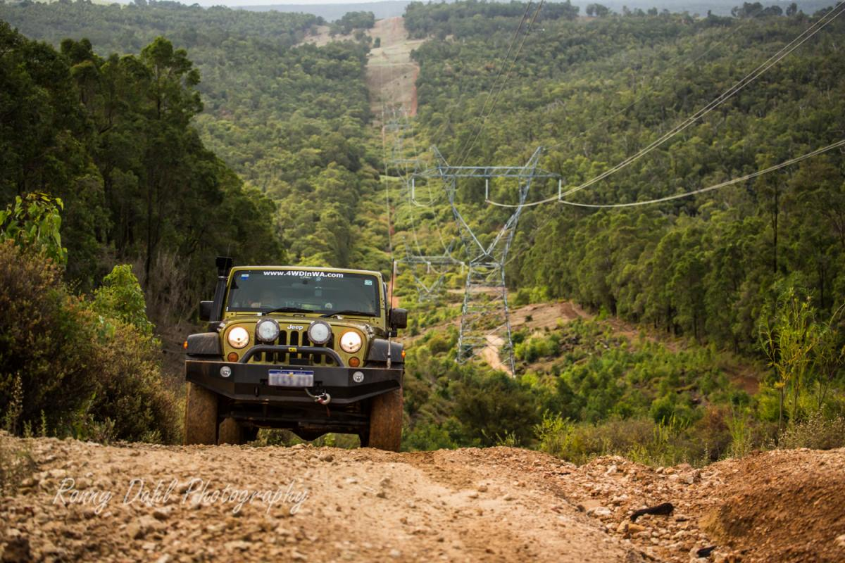 Jeep Wrangler on the power line at Harvey.