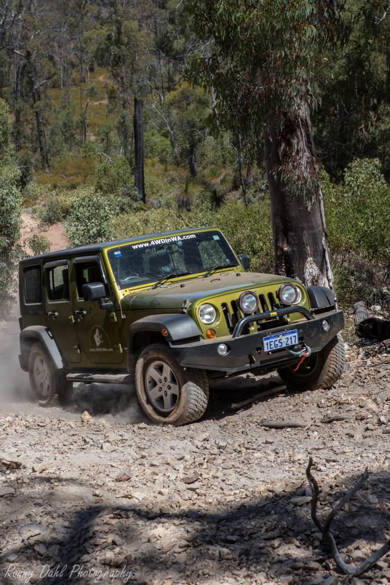 Jeep Wrangler in steep hill climb.