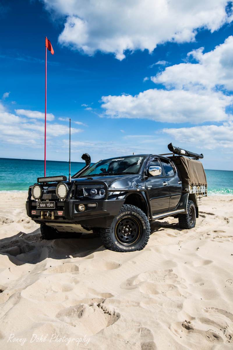 Modified Mitsubishi Triton 4x4 on the beach.