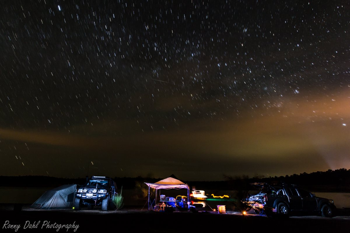 Night camp at Lake Brockman, Western Australia.