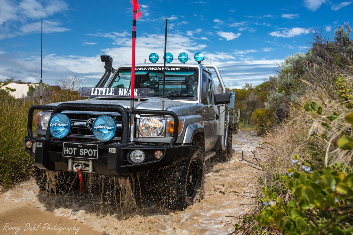 Toyota Land Cruiser water crossing.