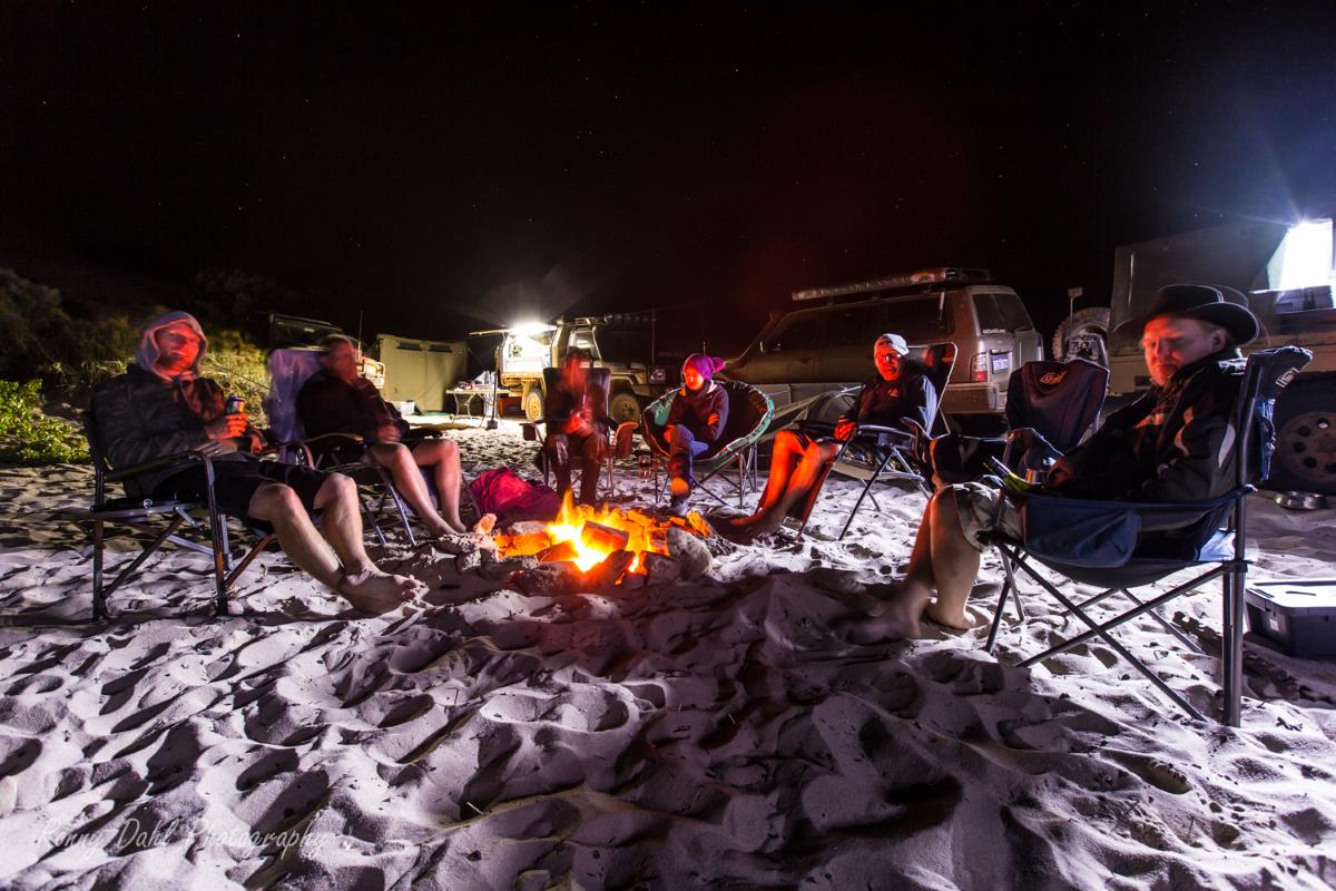 Camping on the beach at Lucky Bay, Western Australia.