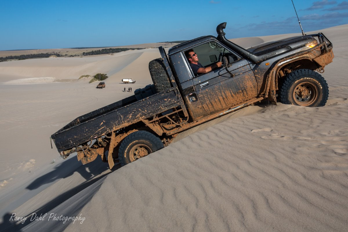 Toyota LandCruiser in the sand dunes.