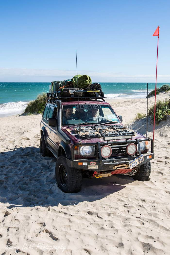 The Mitsubishi Pajero NJ, on the beach in Western Australia..