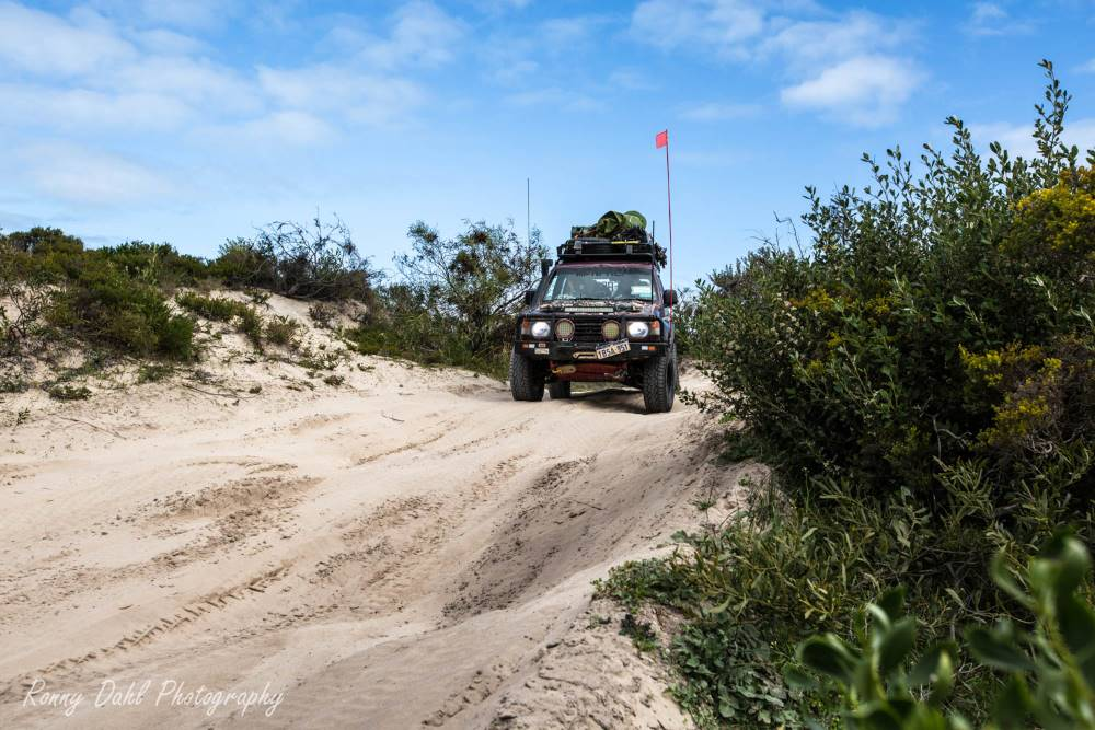 The Mitsubishi Pajero NJ, on a sand track in Western Australia.