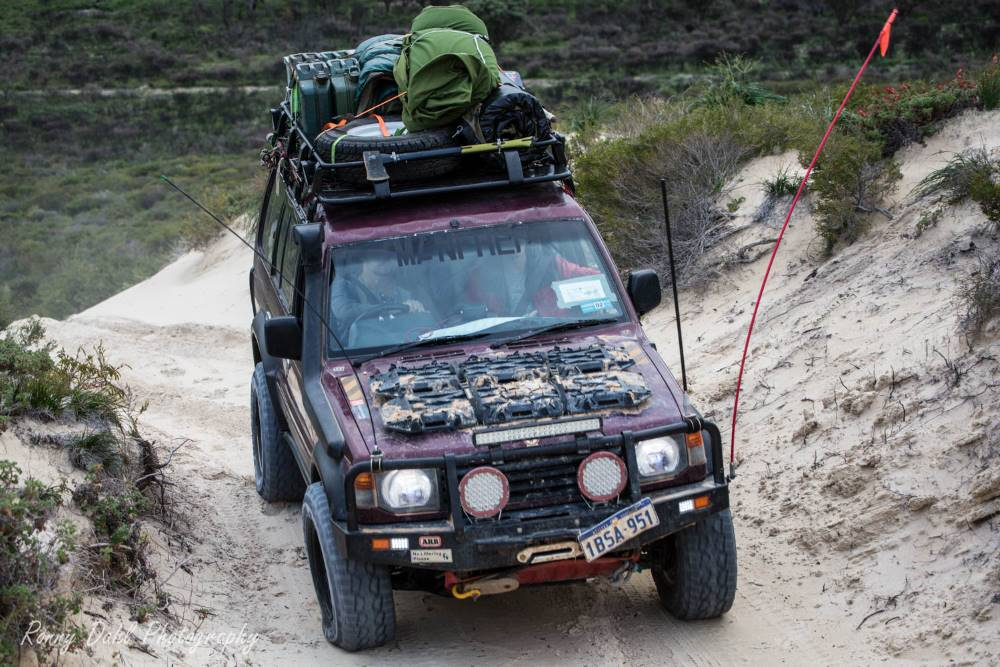 The Mitsubishi Pajero NJ on a sand track in Western Australia.