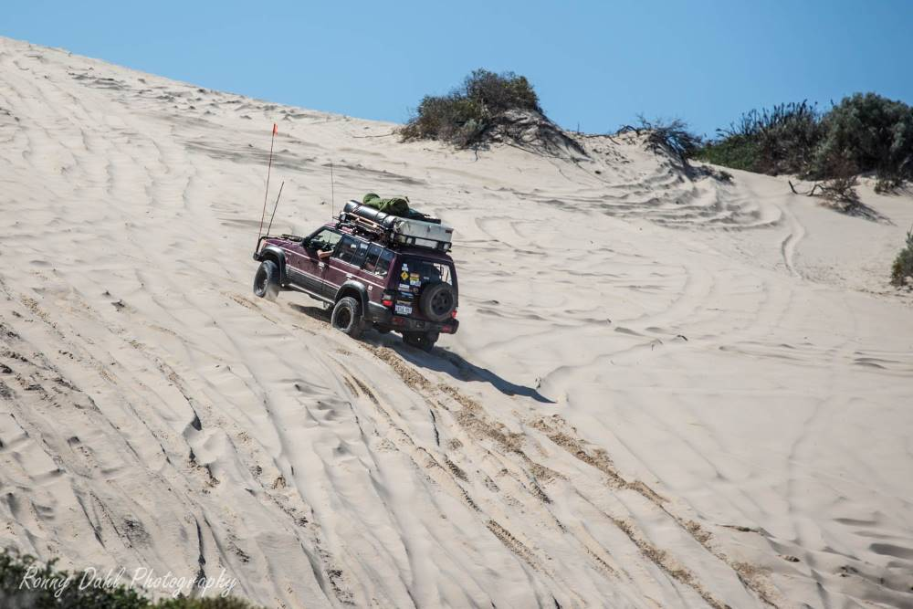 The Mitsubishi Pajero NJ in the sand dunes in Western Australia.