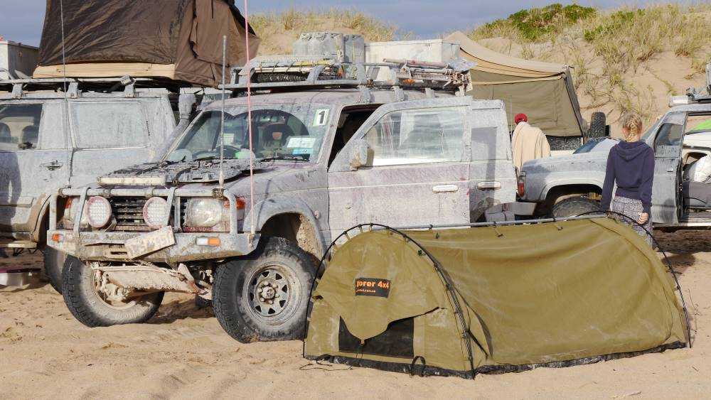 The Mitsubishi Pajero NJ camping in Western Australia.