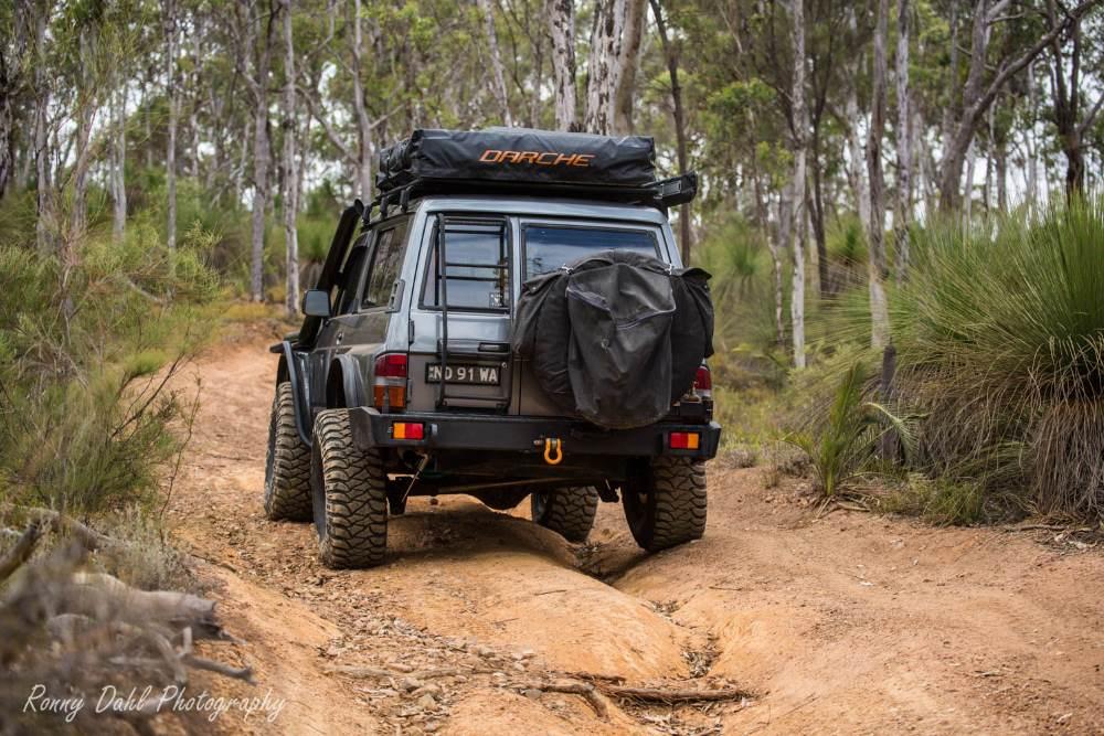 Ford Maverick 4x4 SWB on a bush track in Western Australia.