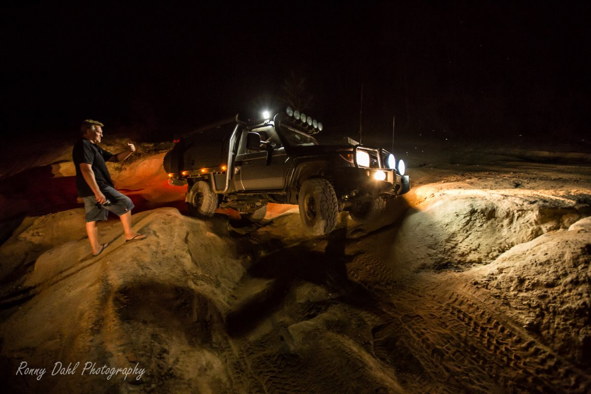 4x4 at night at the Mundaring Powerline Track, Western Australia.