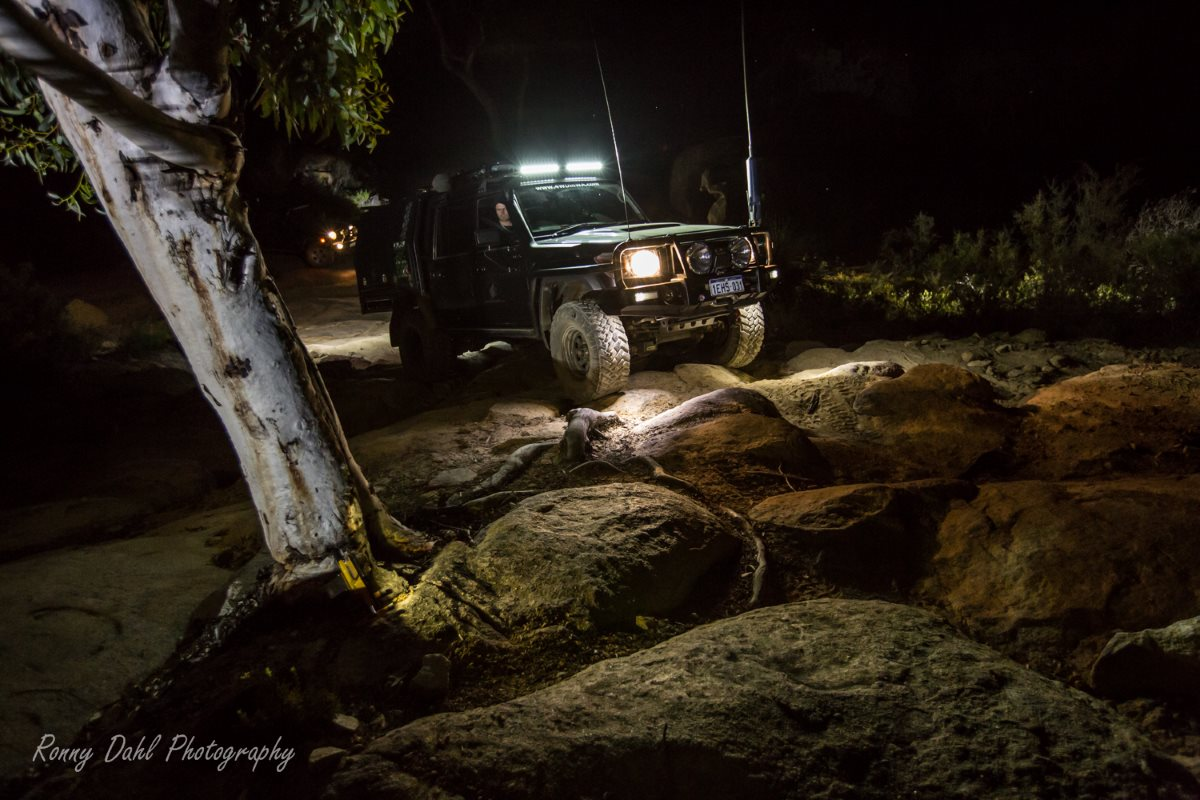 Rock crawling at night.