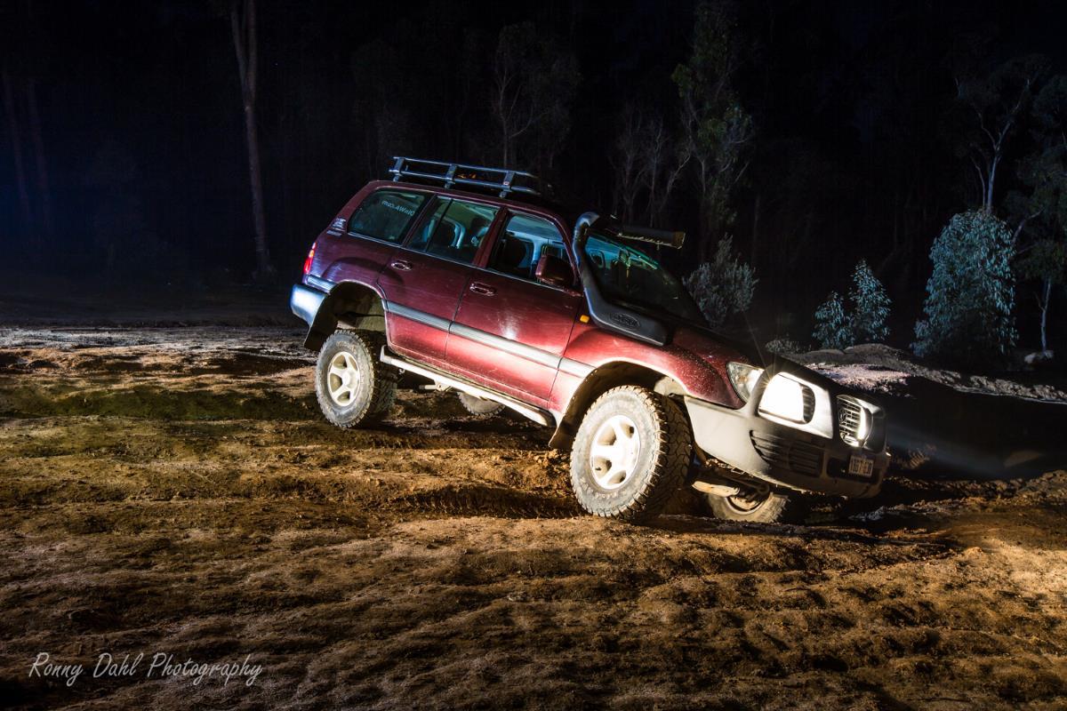 Night driving, 105 series LandCruiser.