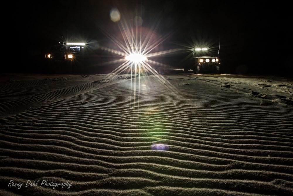 On the beach after dark.