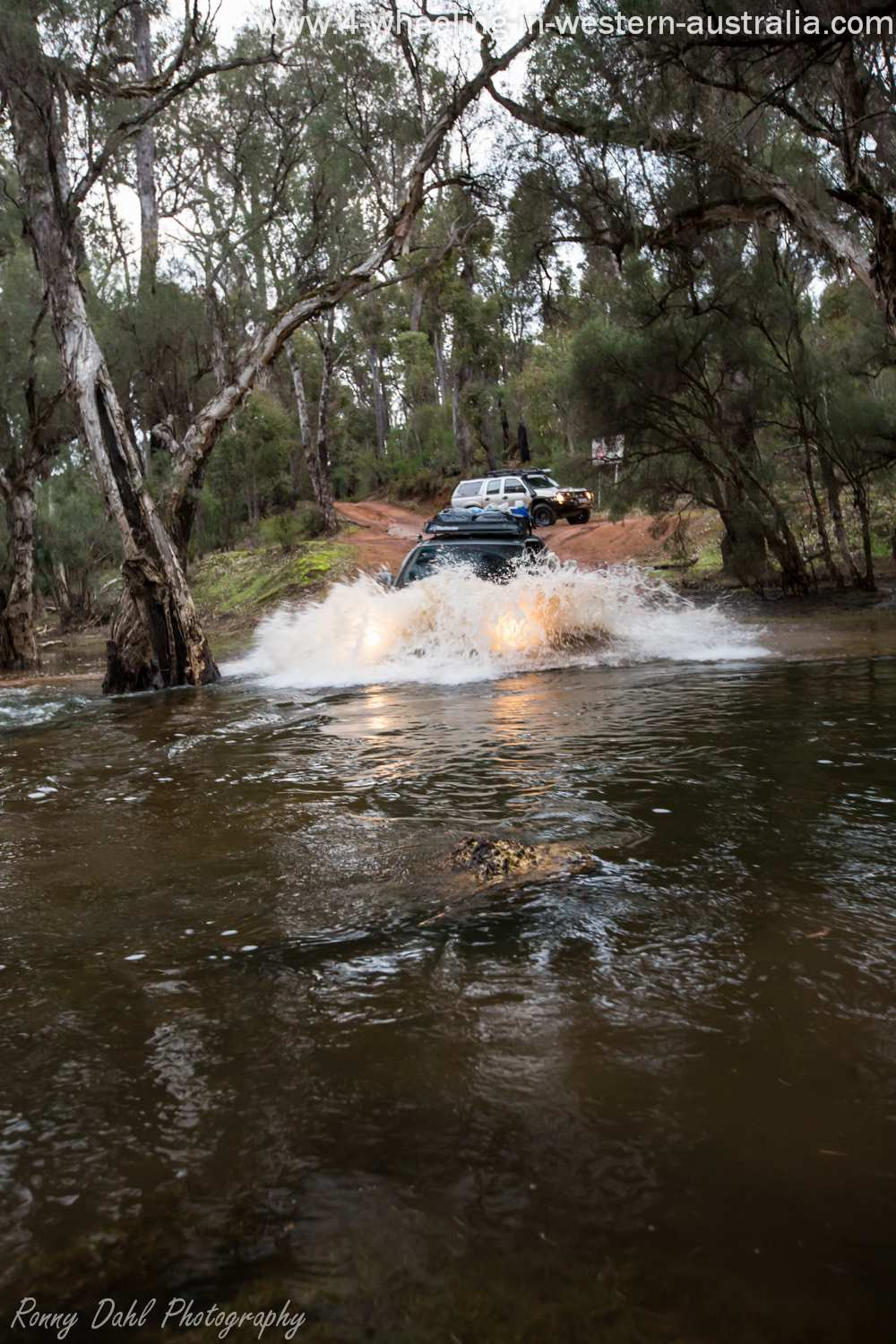 Nissan Navara Crossin Murray River in the Winter.