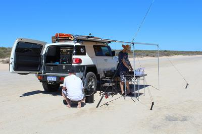 Having a fish at Little Lagoon in Shark Bay a month after buying the FJ