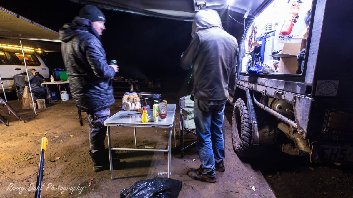 Preparing to cook the evening meal on a trip.