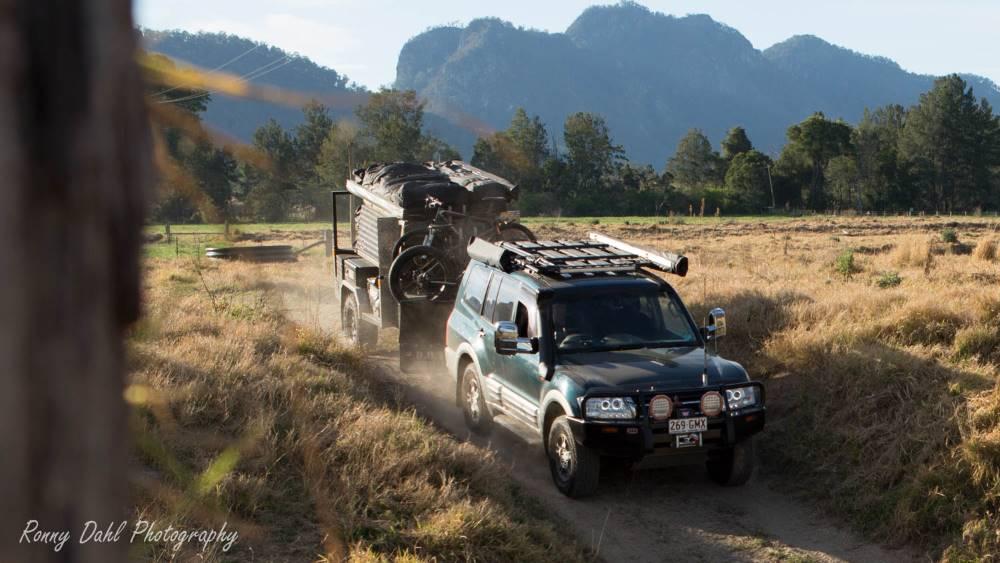 Mitsubishi Pajero with a trailer.