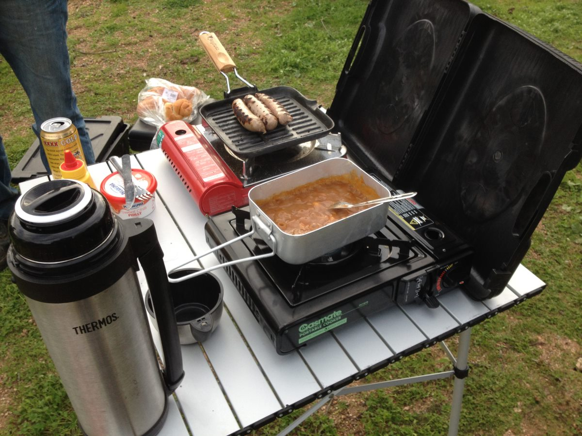 Heating camping food.