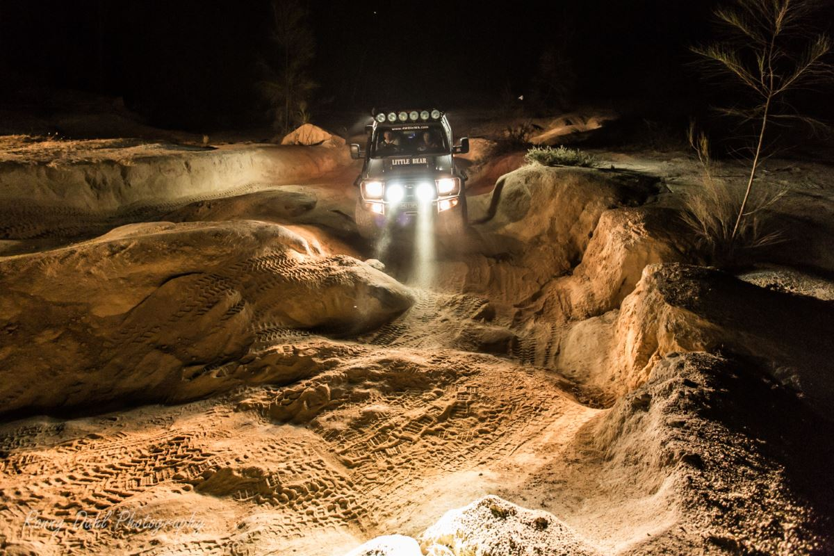 Toyota Land Cruiser, Modified 79 series single cab in the night.