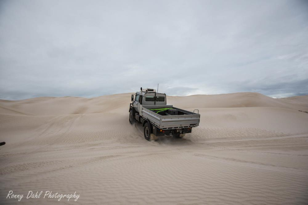 Mercedes Benz Unimog on the sand dunes at Lancelin in Western Australia.