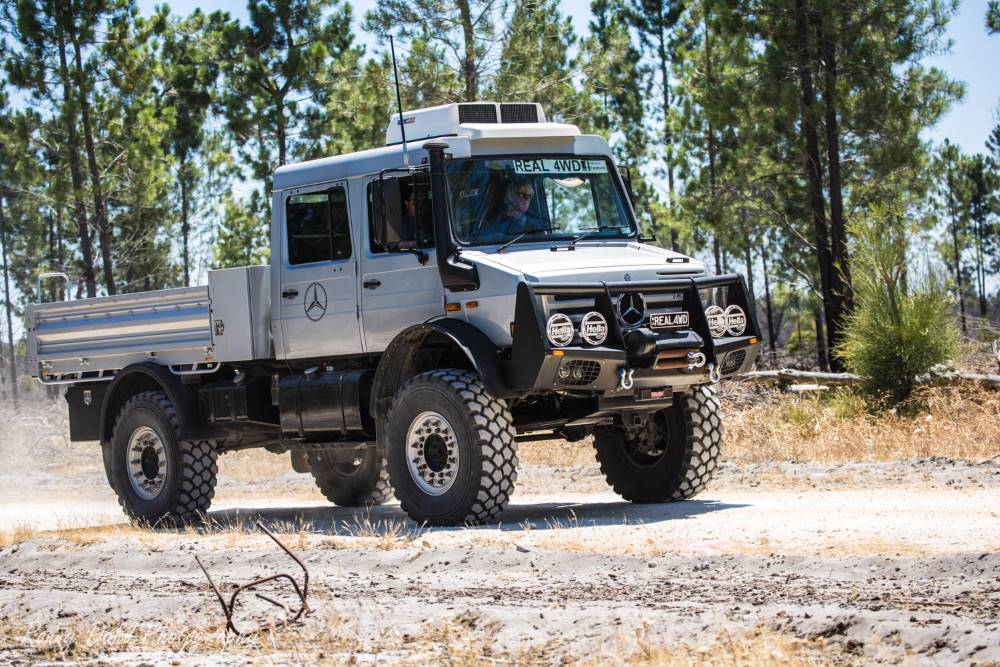 Mercedes Benz Unimog on the track.