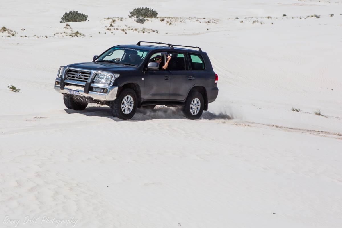 Toyota Sahara in the sand dunes at Wedge Island. WA