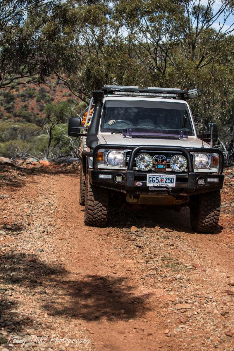 79 series Toyota Landcruiser, on an outback track in Western Australia.