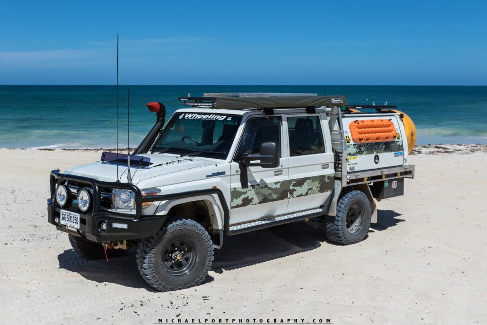79 series Toyota Landcruiser, on the beach in Western Australia.