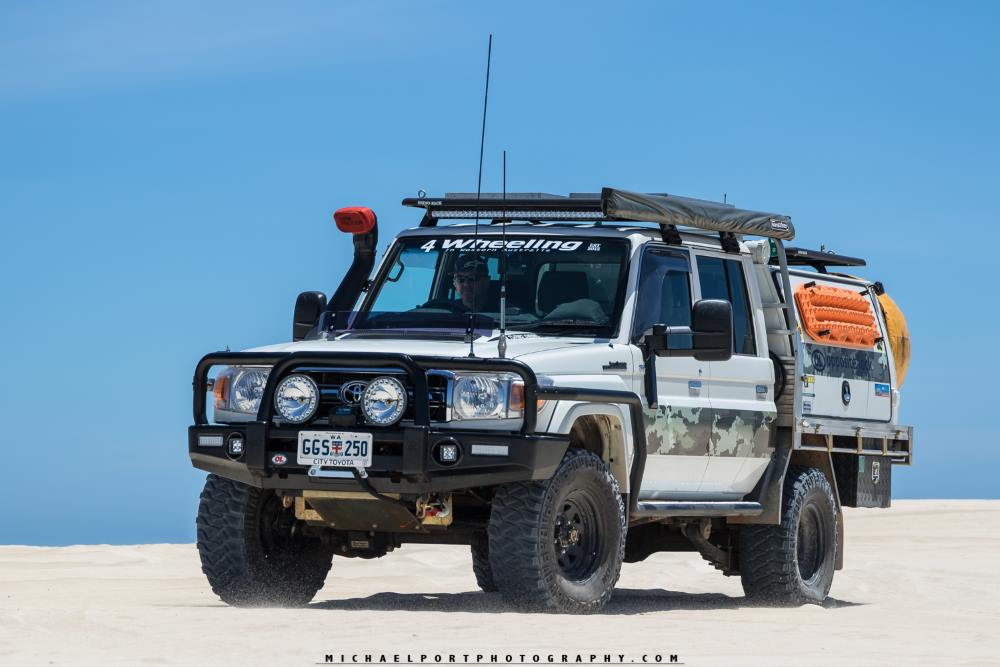 79 series Toyota Landcruiser, on a beach in Western Australia.