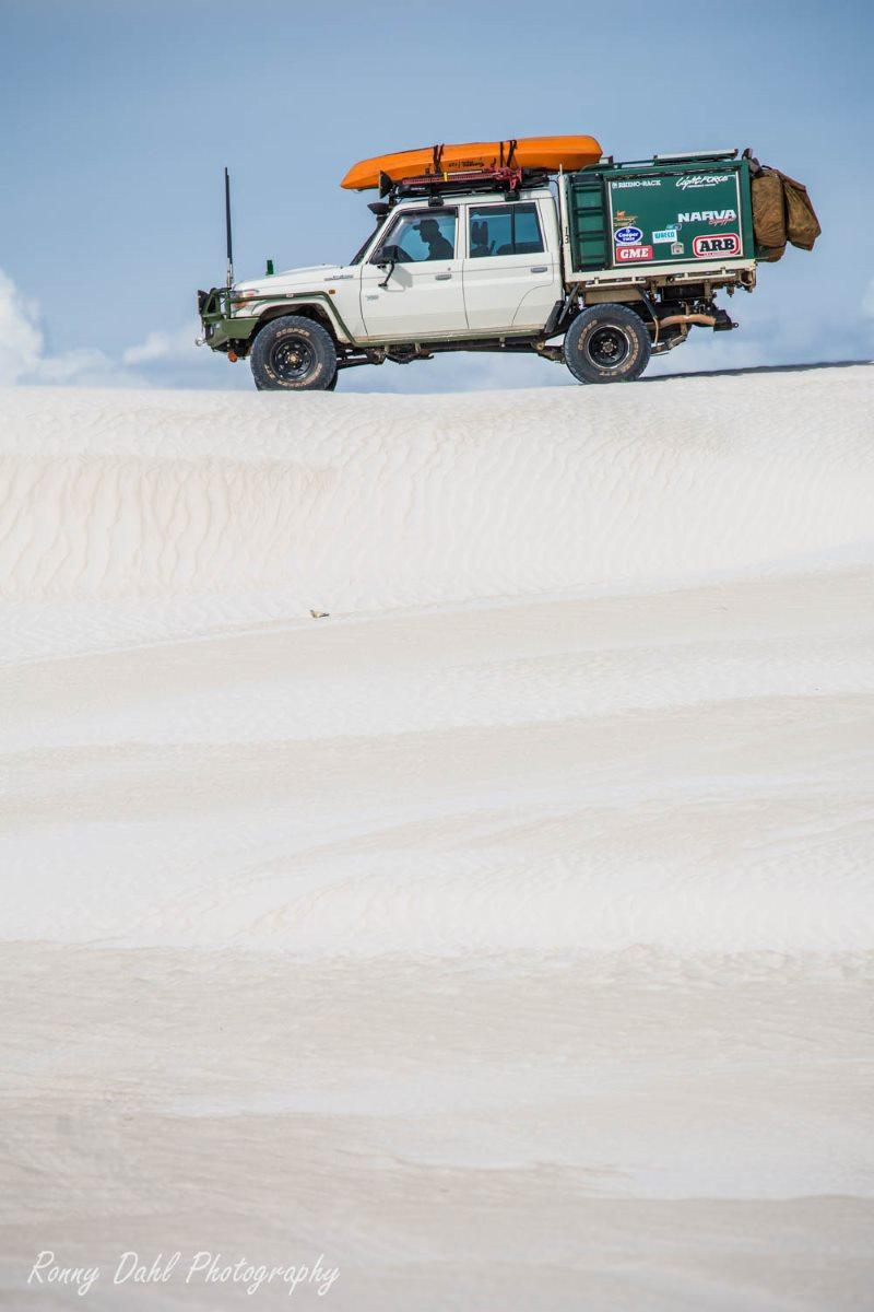 79 Series Landcruiser on sand dunes.