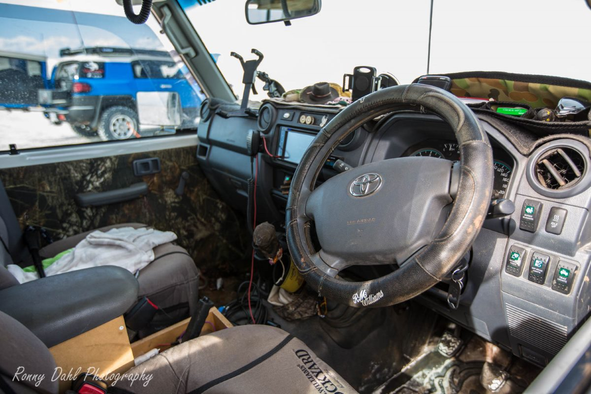Inside the 79 series Landcruiser.