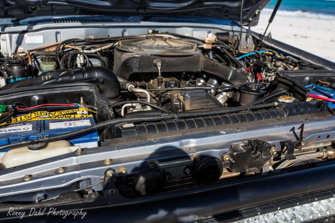 The engine in the Toyota Custom 80 series Landcruiser.