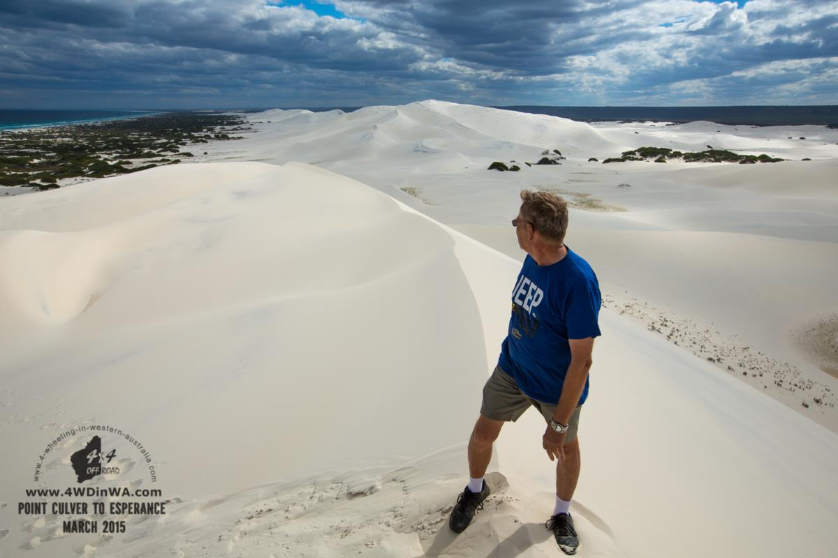 Enjoying the view on top of Bilbunya Dunes, Western Australia.