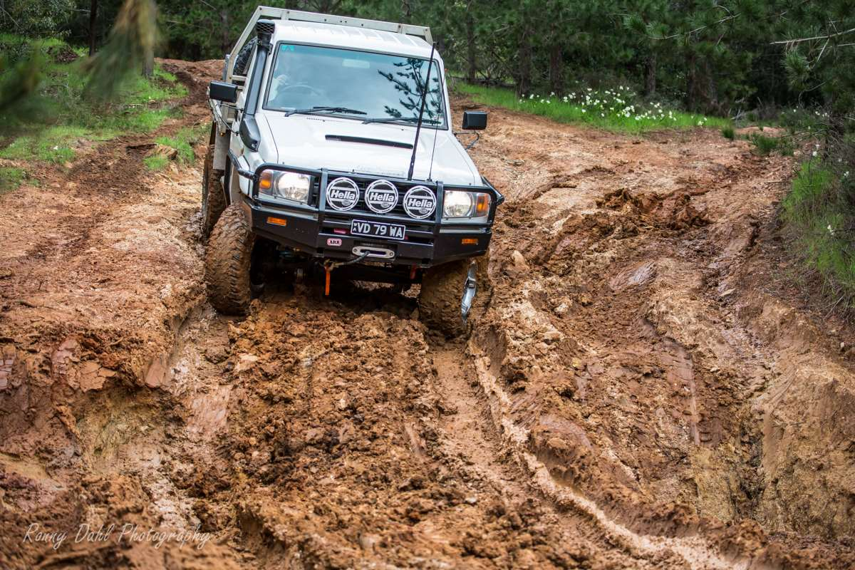 Single cab 79 series Landcruiser in mud.