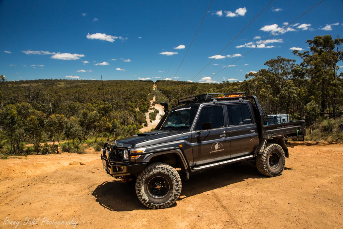 The Toyota Land Cruiser at Mundaring power line track.