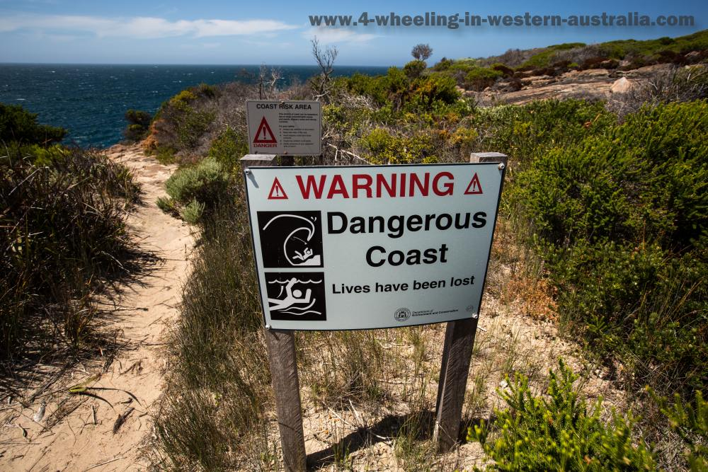 Dangerous coast sign Peaceful Bay, Western Australia..