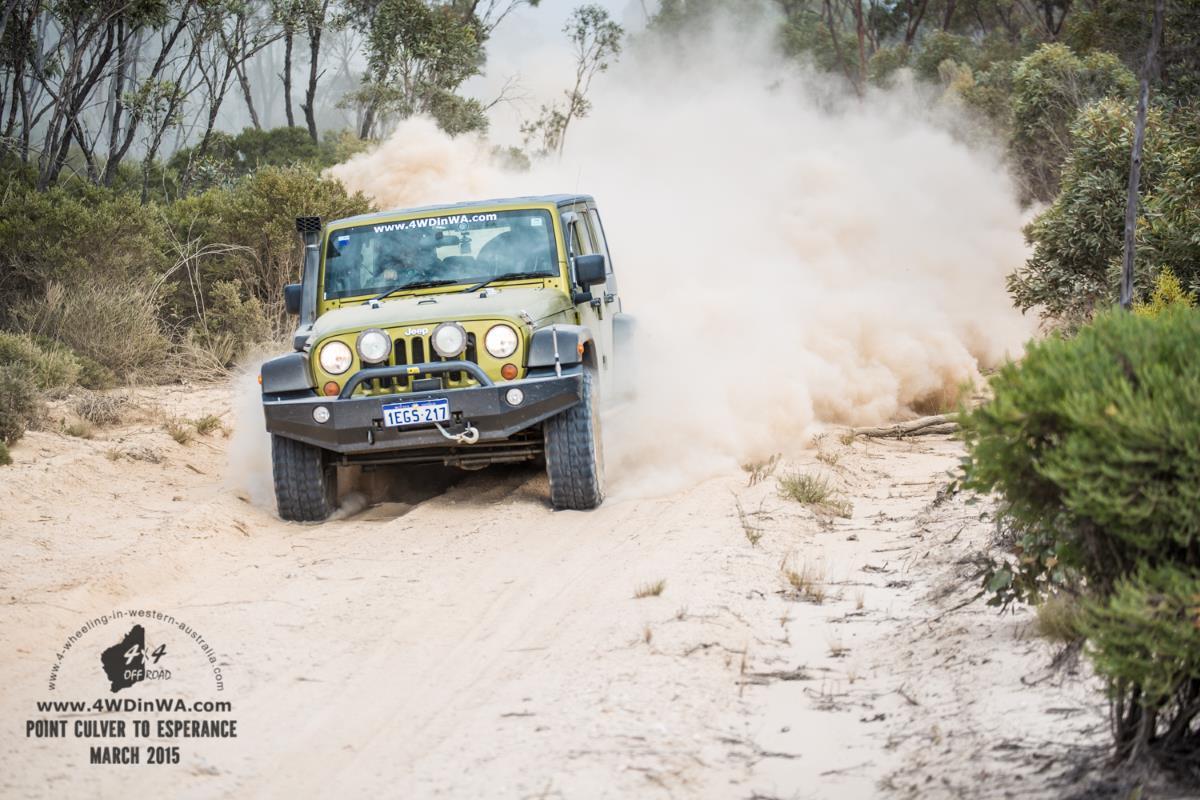 Jeep Wrangler JKU in White Bull dust, Western Australia.