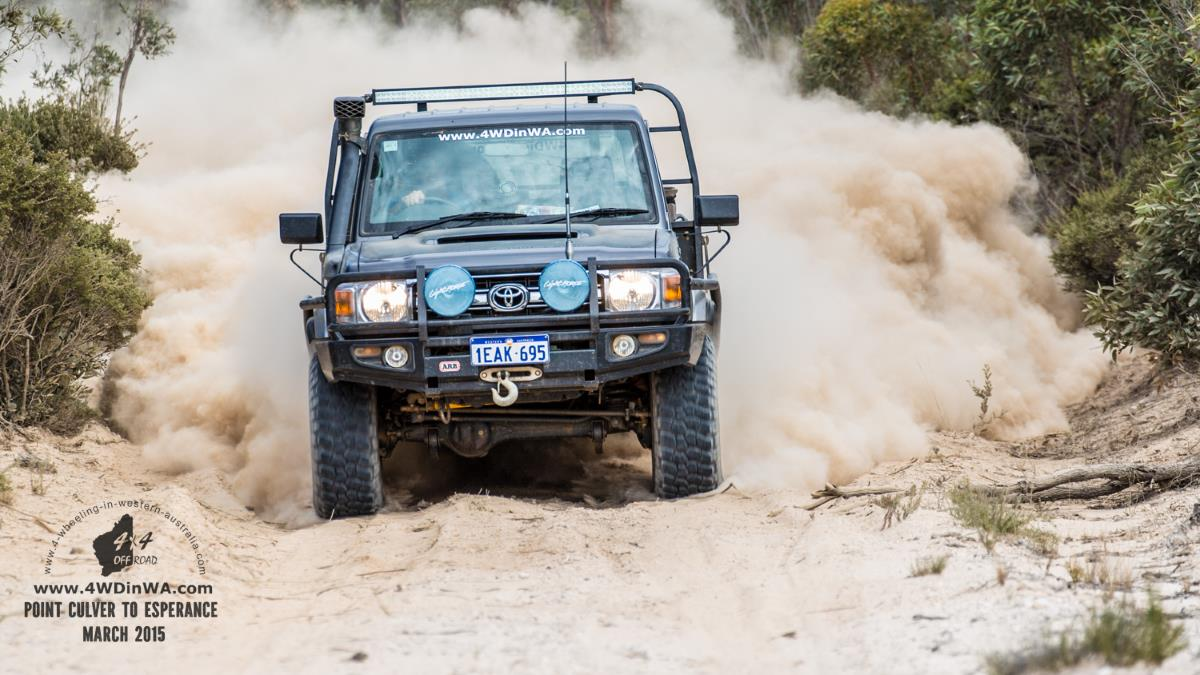 79 series Landcruiser in White Bull dust, Western Australia.