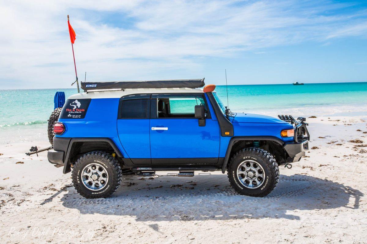 A modified Toyota FJ Cruiser on the beach at Wedge, Western Australia.