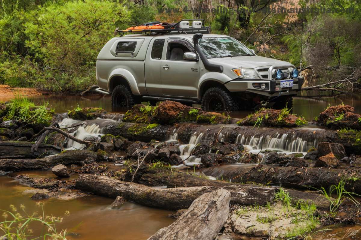 Crossing Gardner River in the Toyota Hilux.