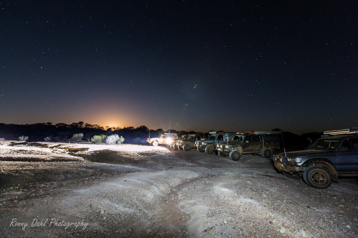 Night time at Murchison Off-Road Adventure Park.