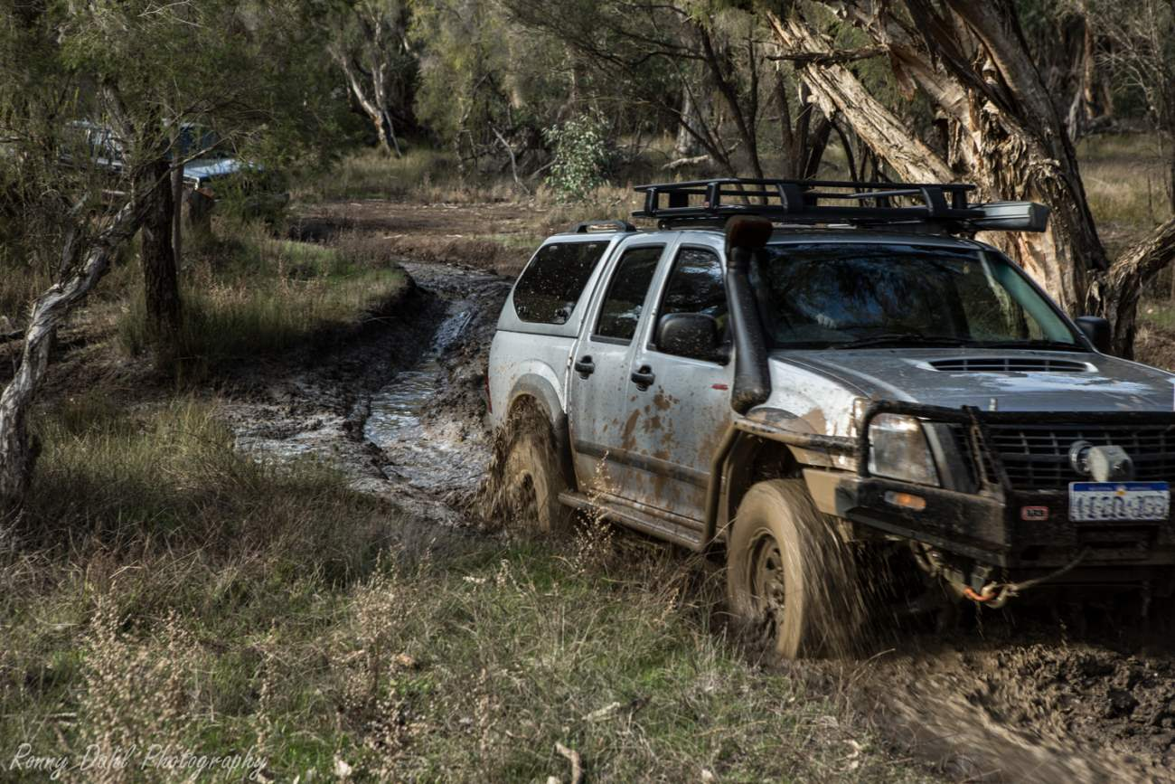 Holden Rodeo in mud.