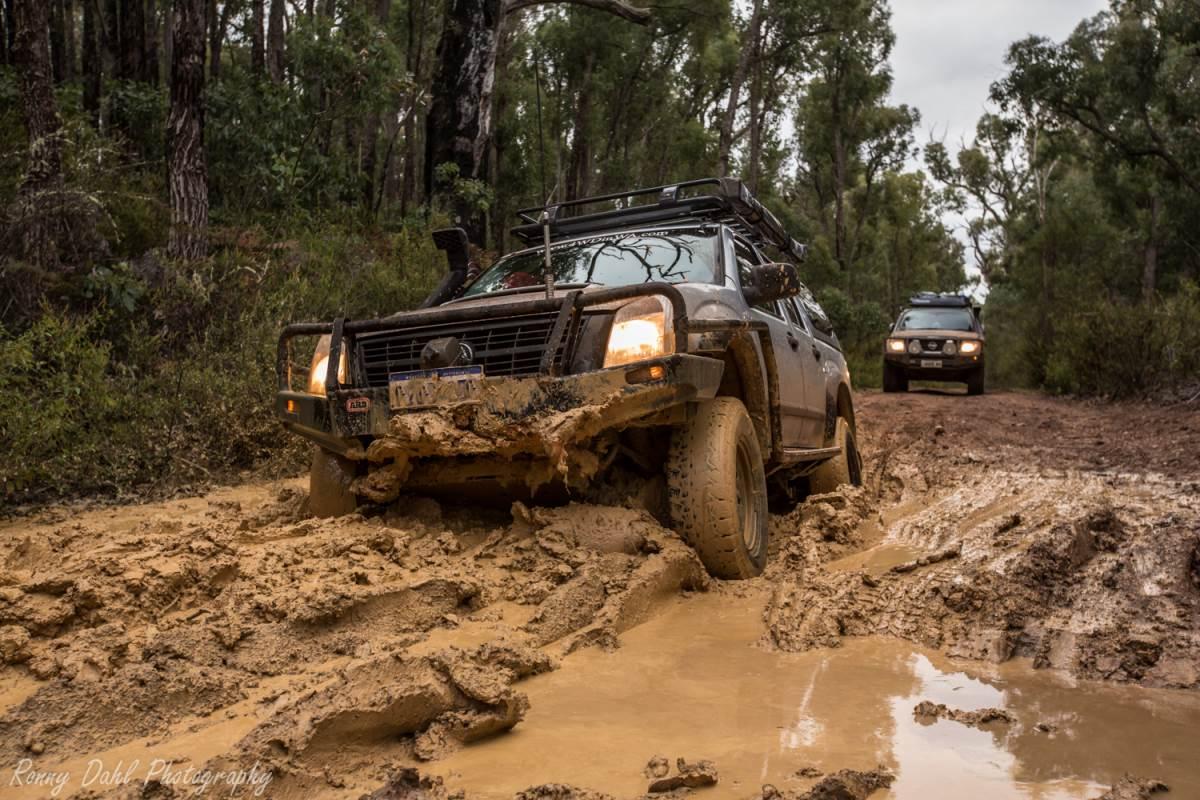 Holden Rodeo stuck in mud.
