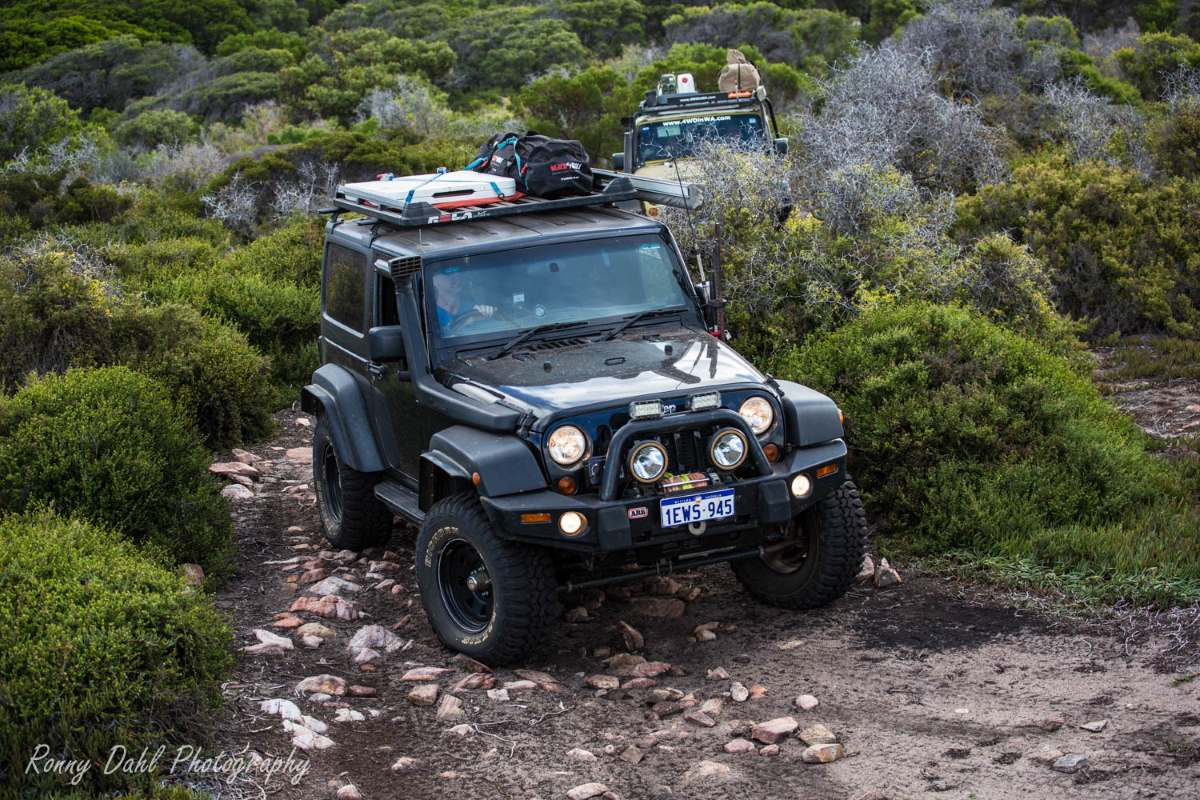 A Jeep JK Wrangler on the track in Western Australia.