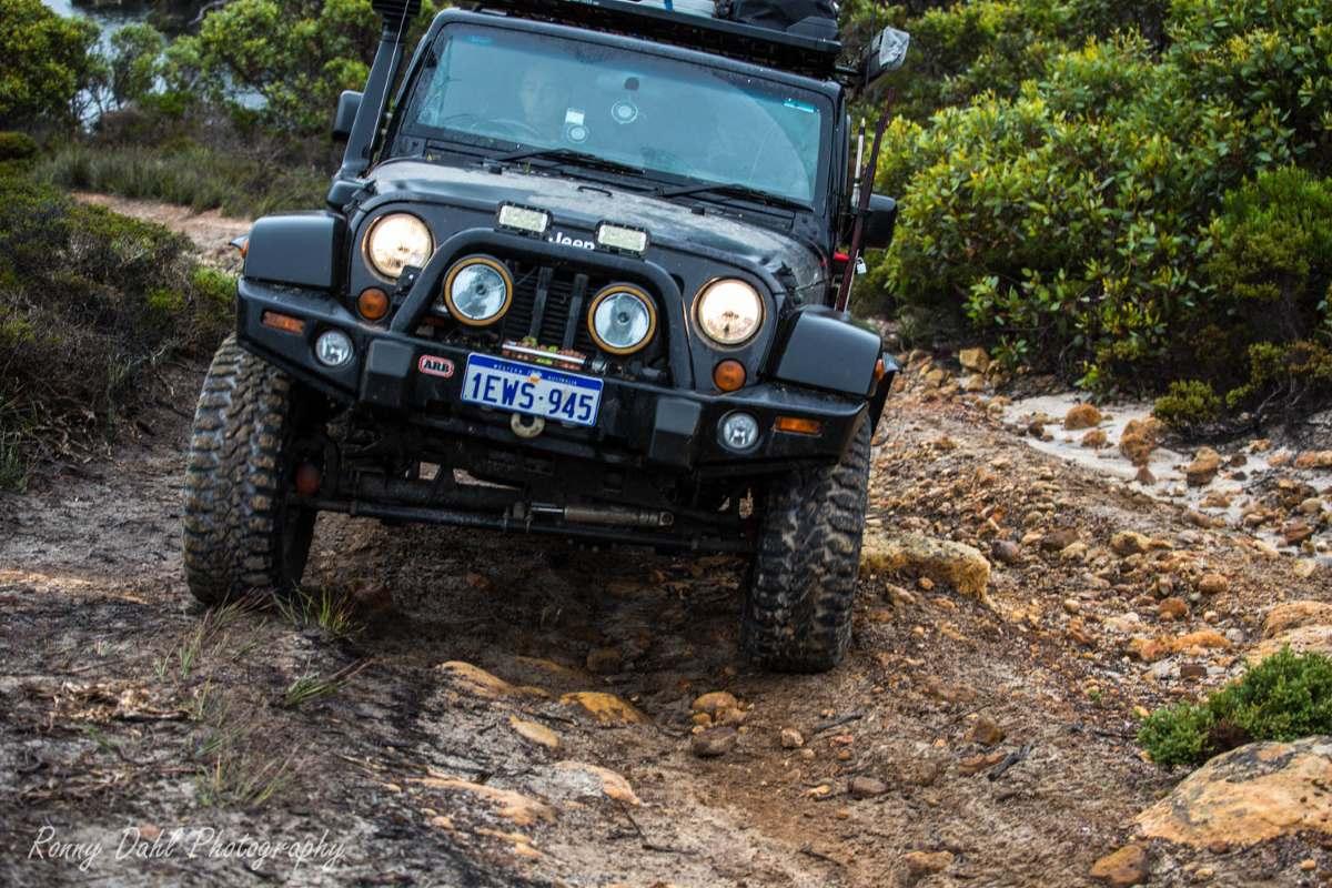 A Jeep JK Wrangler on the track in Western Australia.