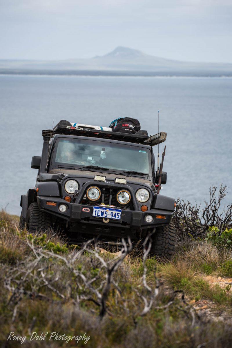 A Jeep JK Wrangler on a track in Western Australia.