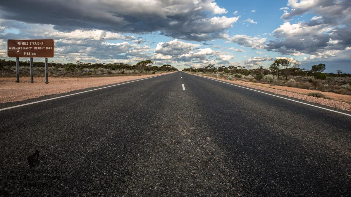 90mile straight, the longest dead straight and flat road in Australia.